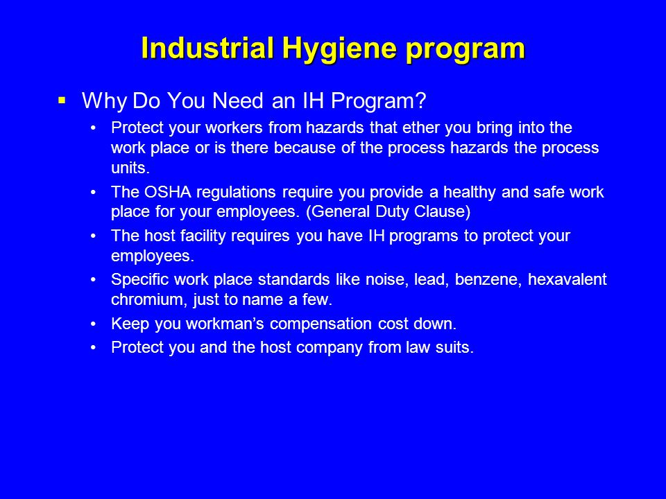 Industrial Hygiene program