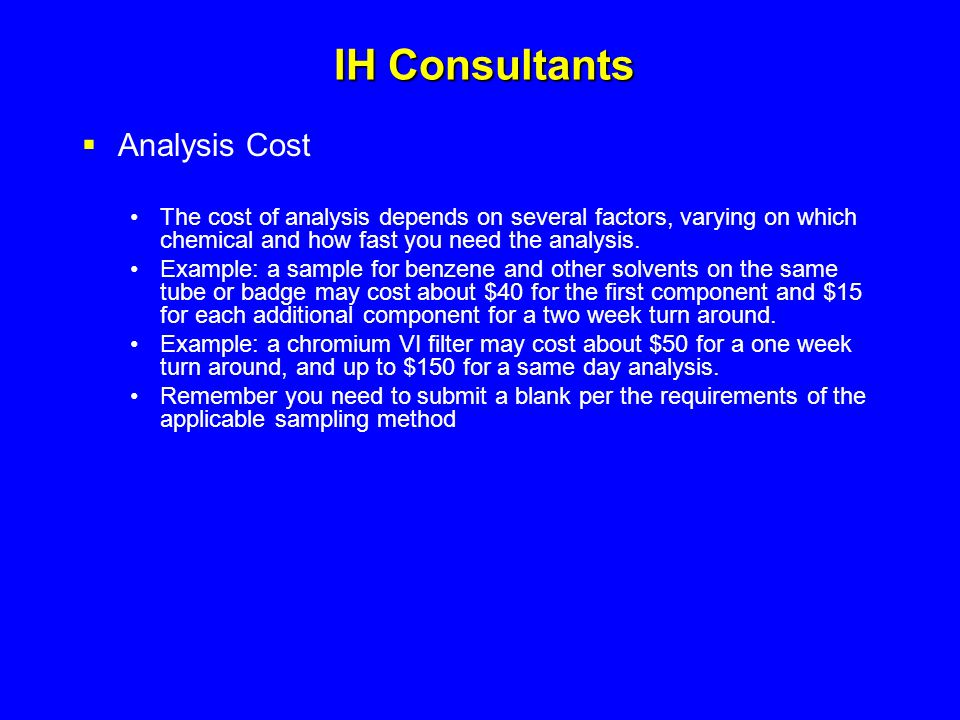 IH Consultants Analysis Cost