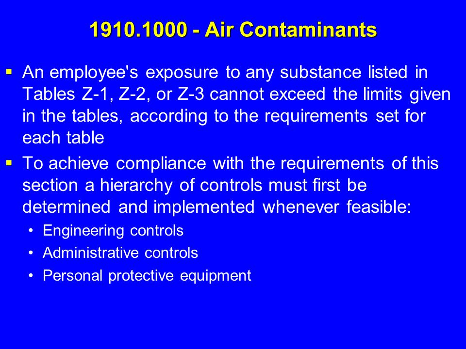 1910.1000 - Air Contaminants