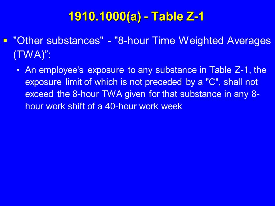 1910.1000(a) - Table Z-1 Other substances - 8-hour Time Weighted Averages (TWA) :