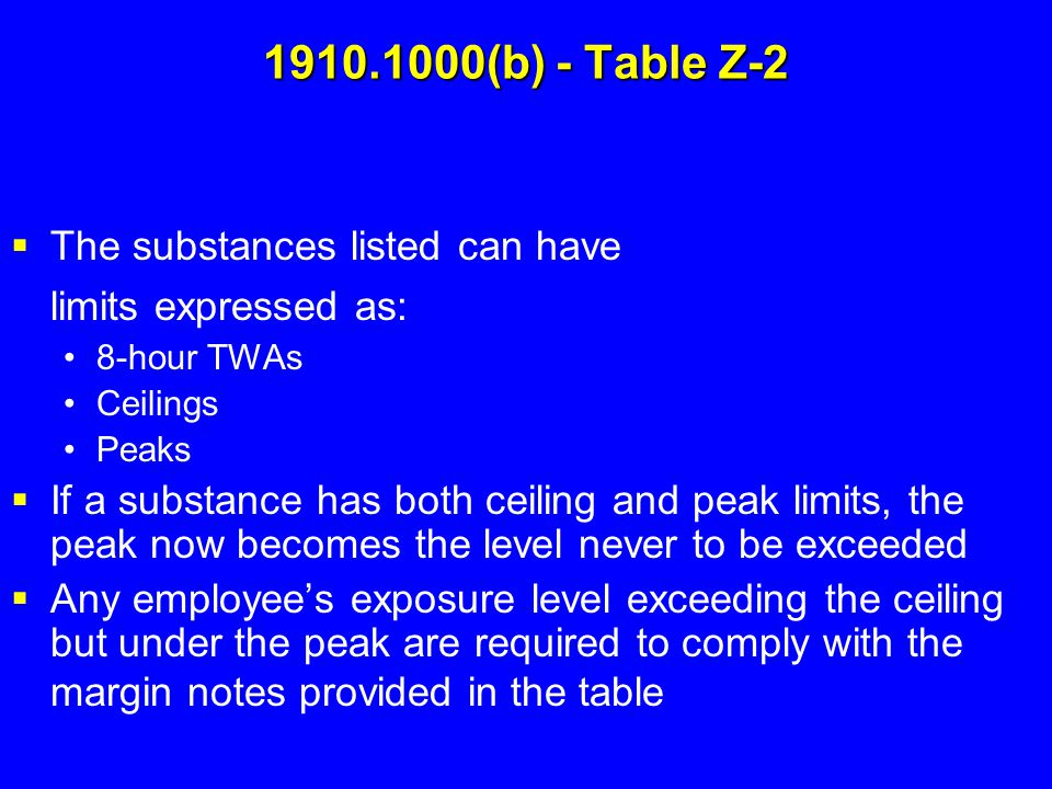 1910.1000(b) - Table Z-2 The substances listed can have