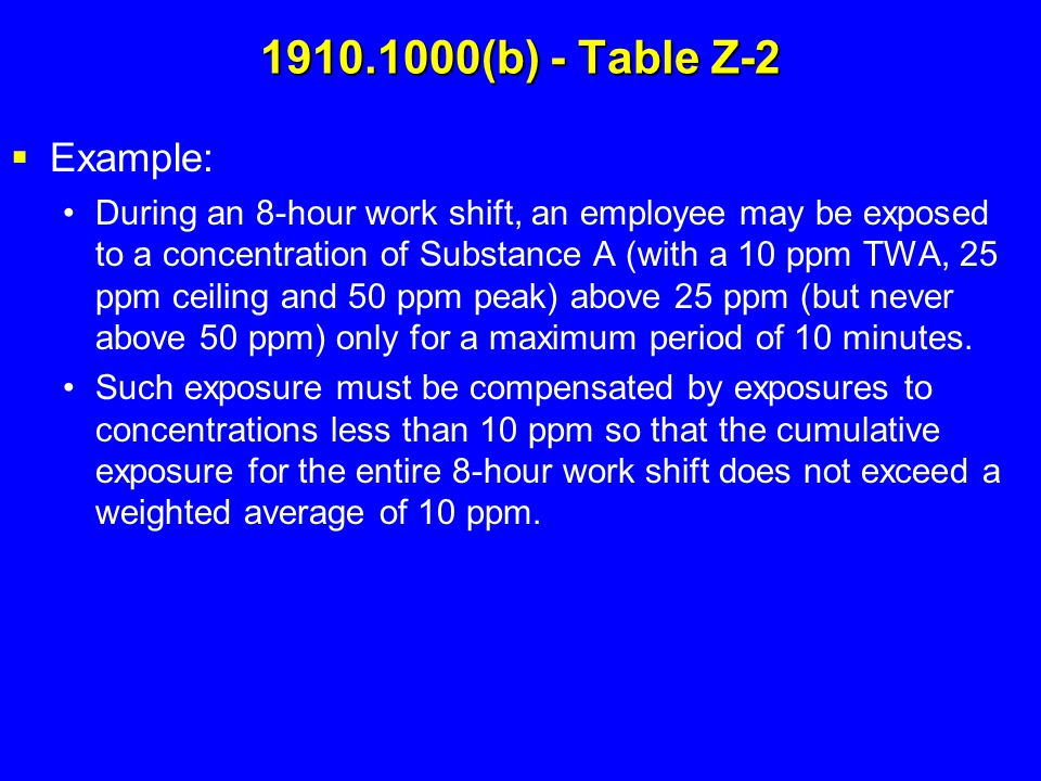 1910.1000(b) - Table Z-2 Example: