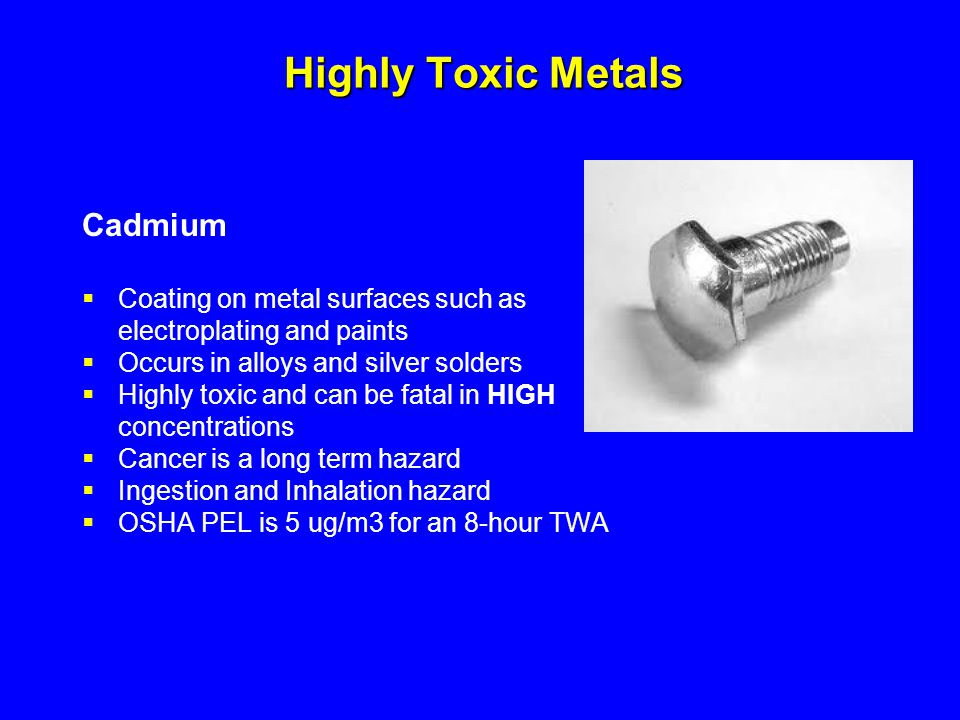 Highly Toxic Metals Cadmium Coating on metal surfaces such as
