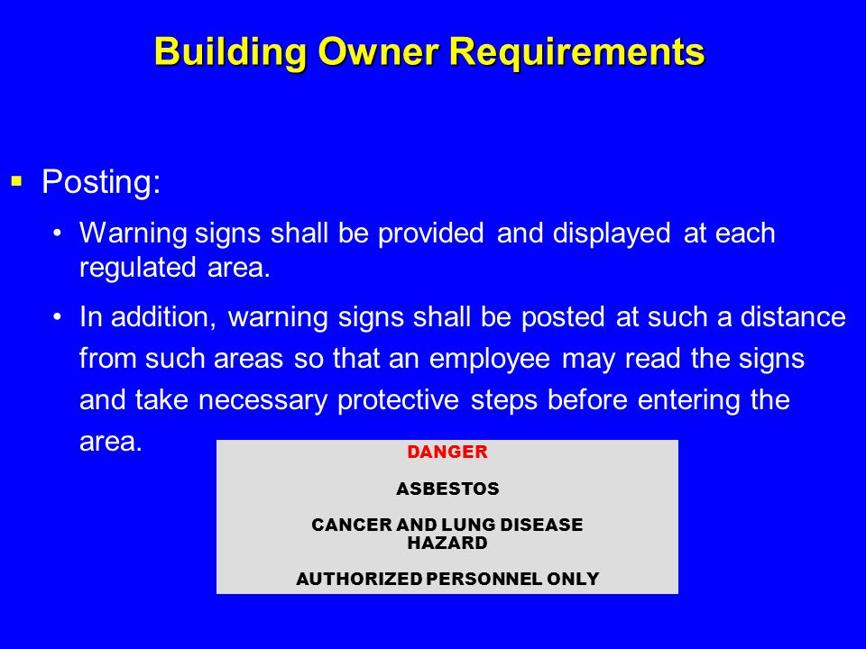 Building Owner Requirements