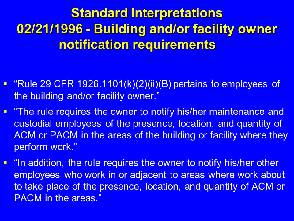 Standard Interpretations 02/21/1996 - Building and/or facility owner notification requirements