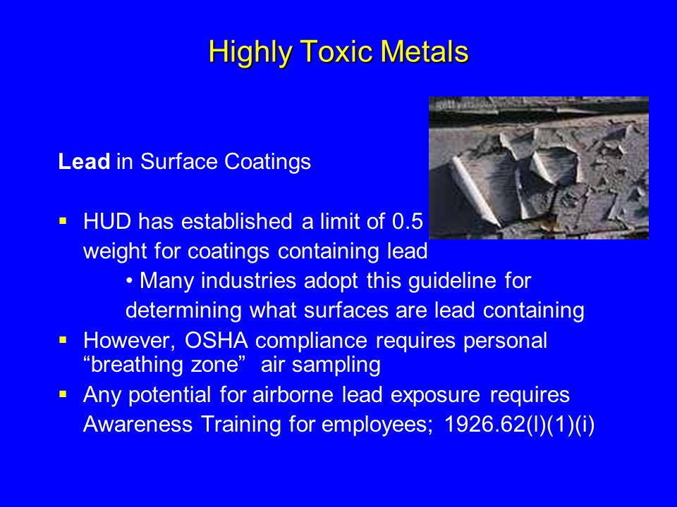 Highly Toxic Metals Lead in Surface Coatings