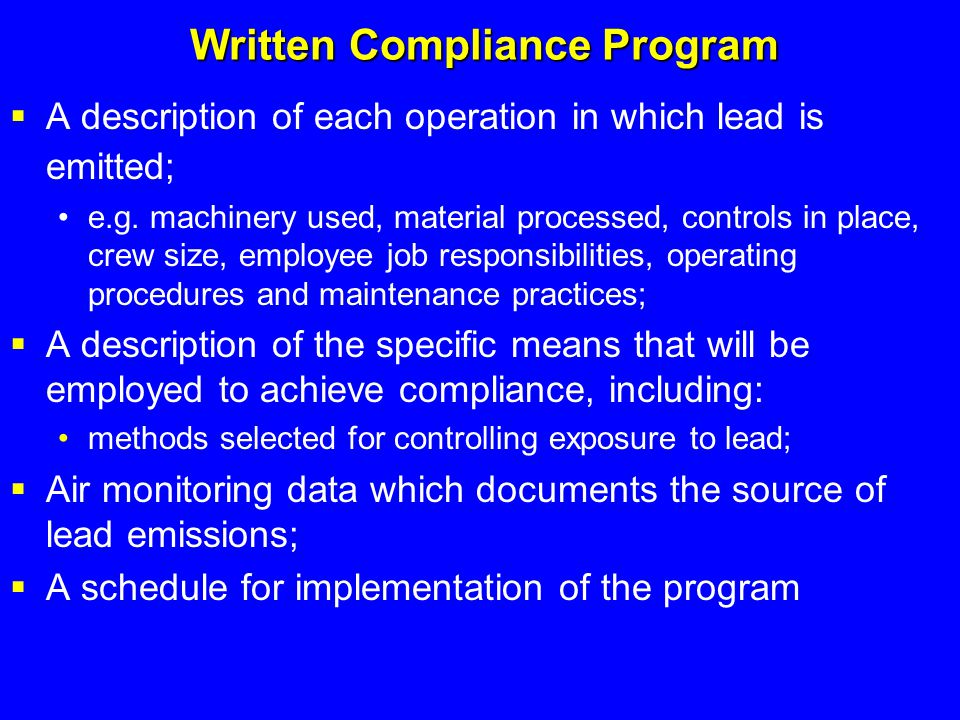 Written Compliance Program