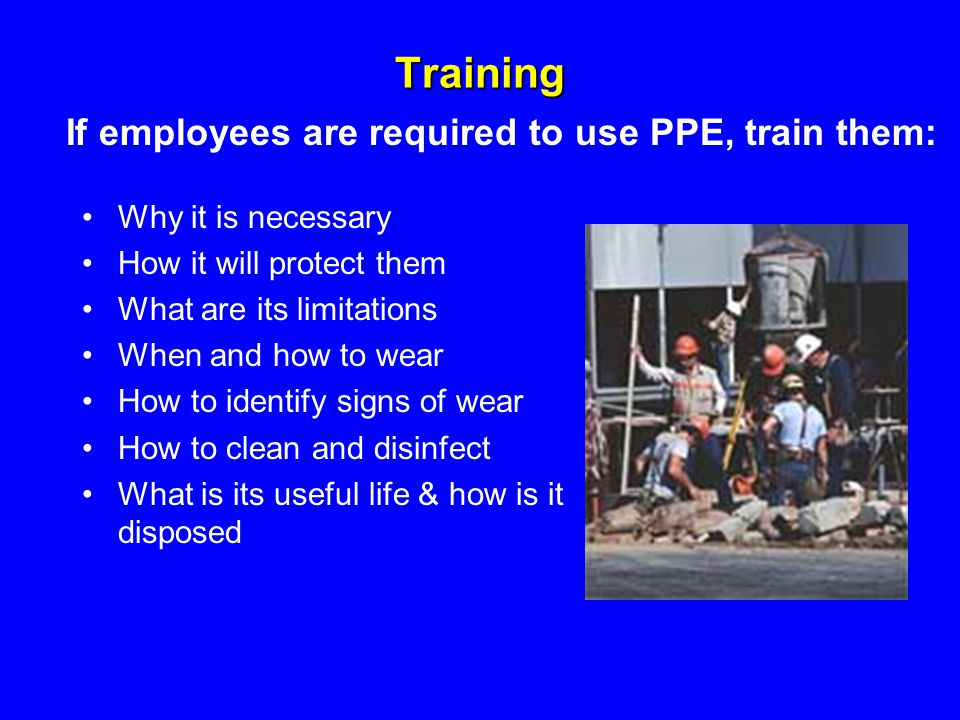 Training If employees are required to use PPE, train them: