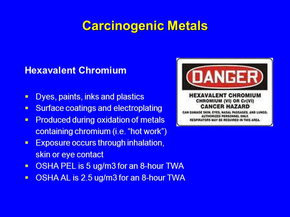 Carcinogenic Metals Hexavalent Chromium