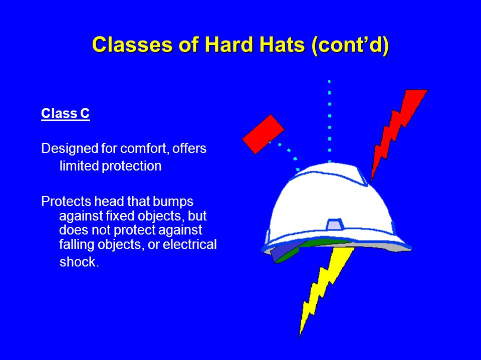 Classes of Hard Hats (cont'd)