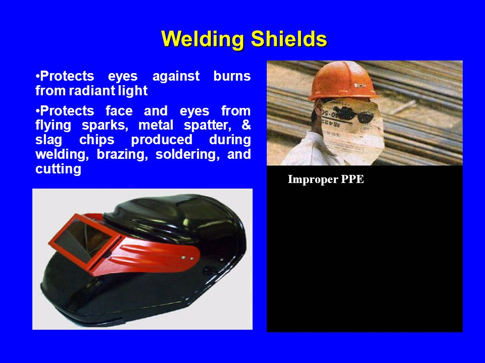 Welding Shields Protects eyes against burns from radiant light