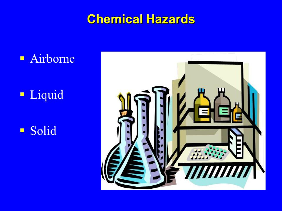 Chemical Hazards Airborne Liquid Solid Describe states.