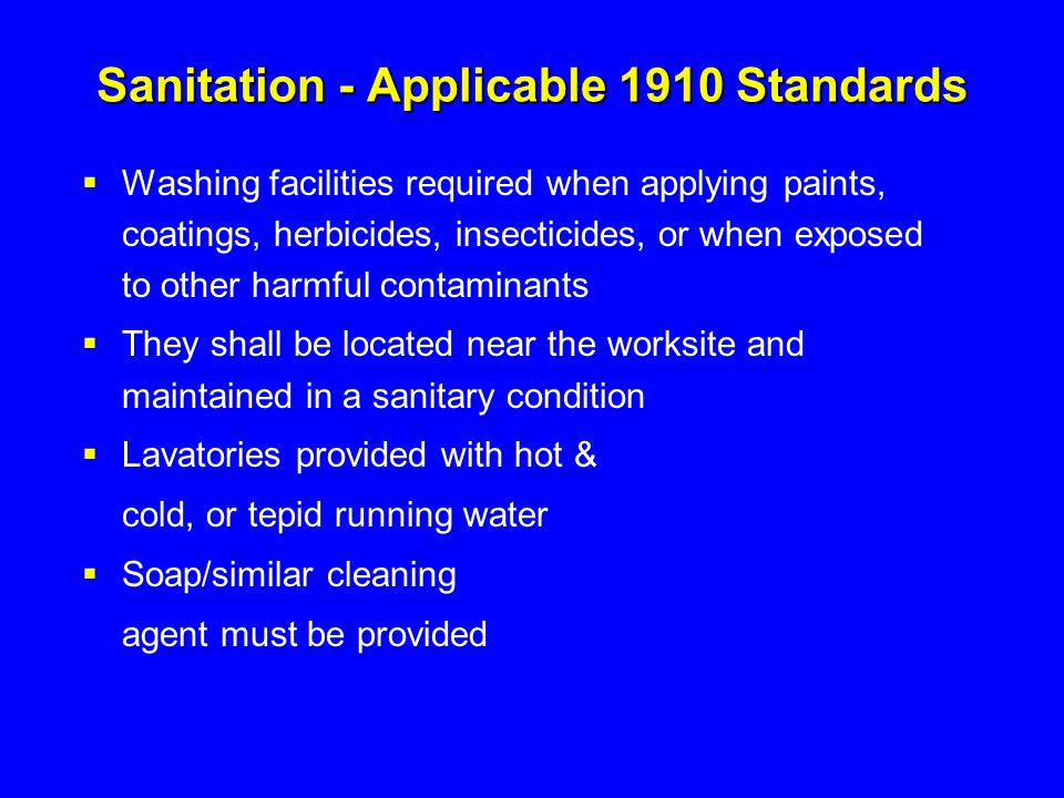 Sanitation - Applicable 1910 Standards