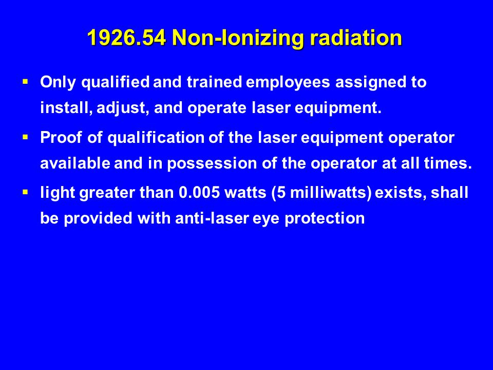 1926.54 Non-Ionizing radiation