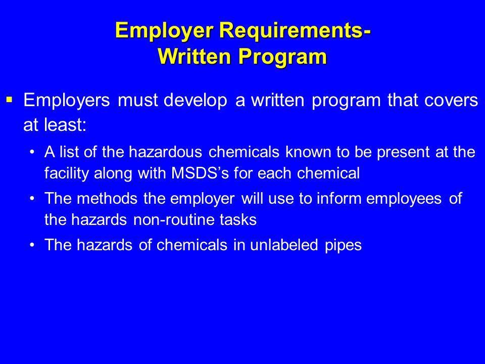 Employer Requirements- Written Program