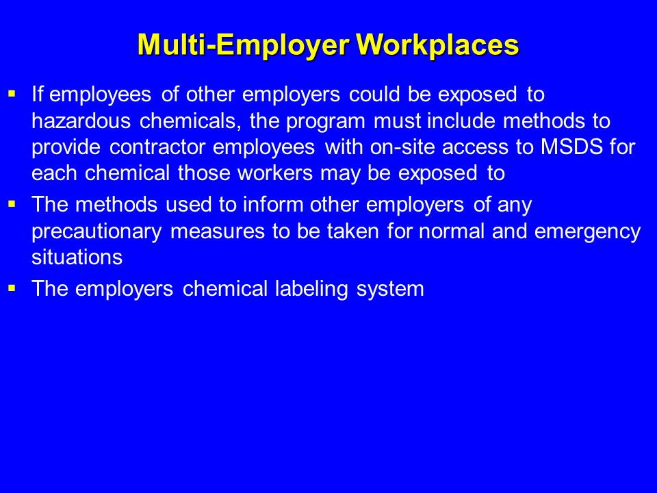 Multi-Employer Workplaces