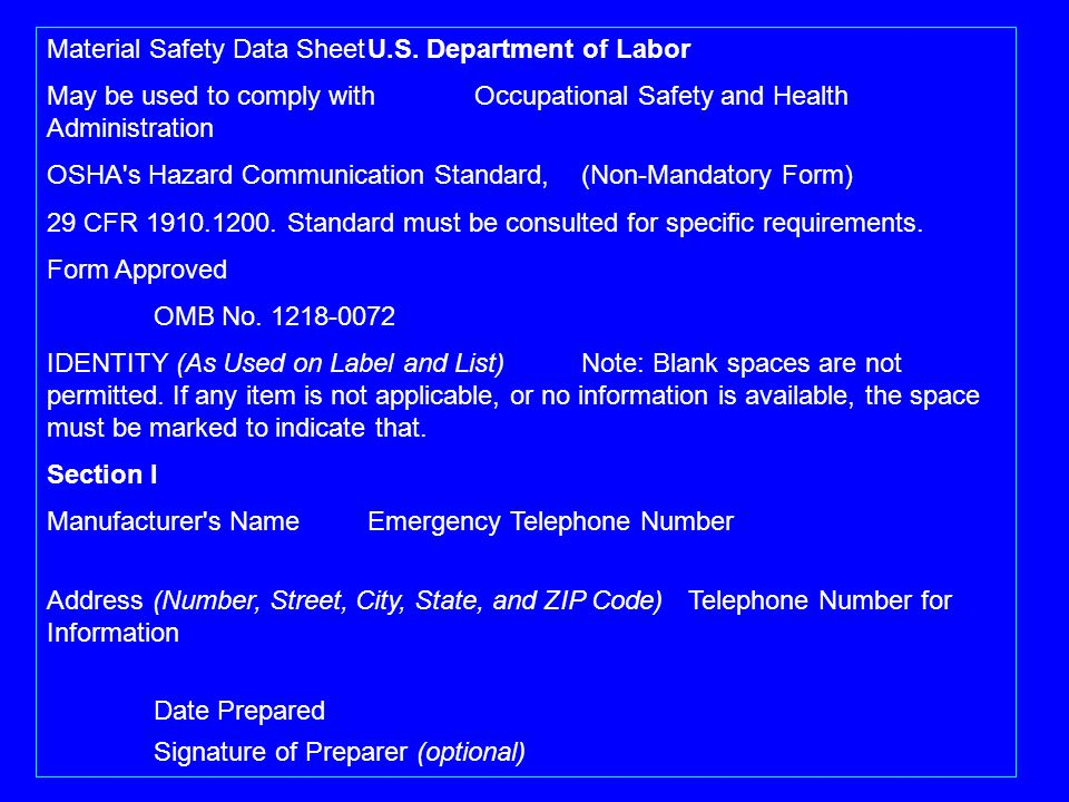Material Safety Data Sheet U.S. Department of Labor