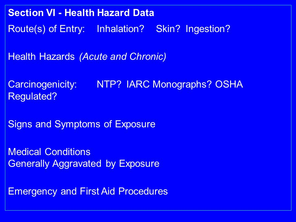 Section VI - Health Hazard Data