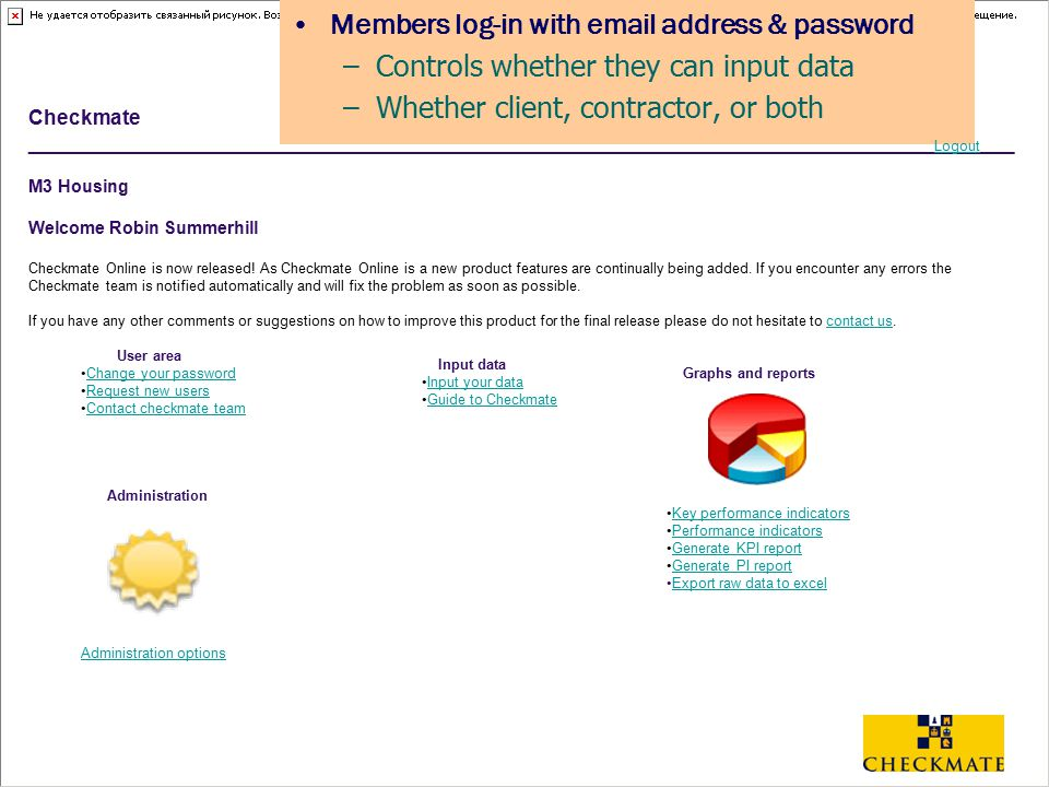 Members log-in with email address & password
