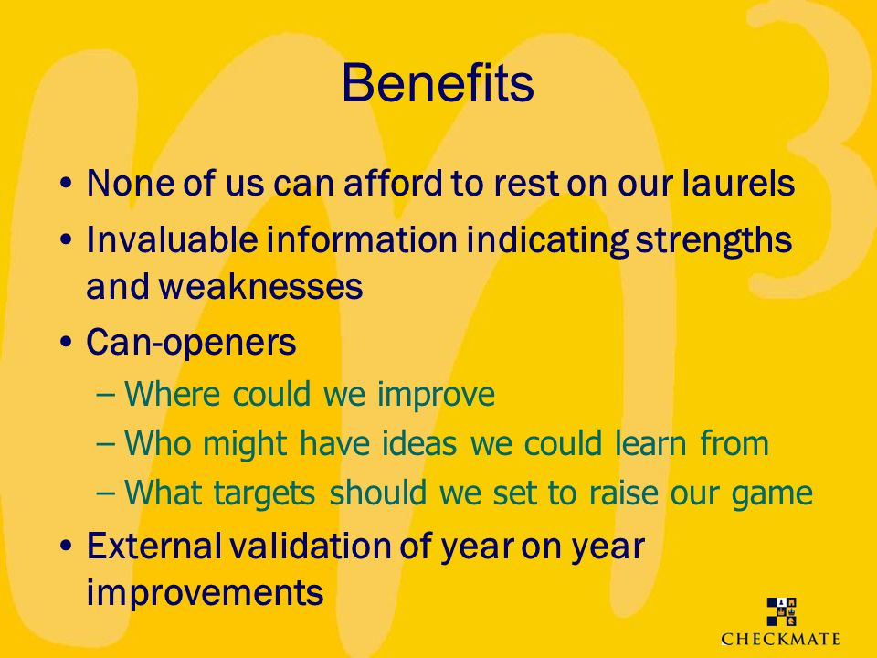 Benefits None of us can afford to rest on our laurels
