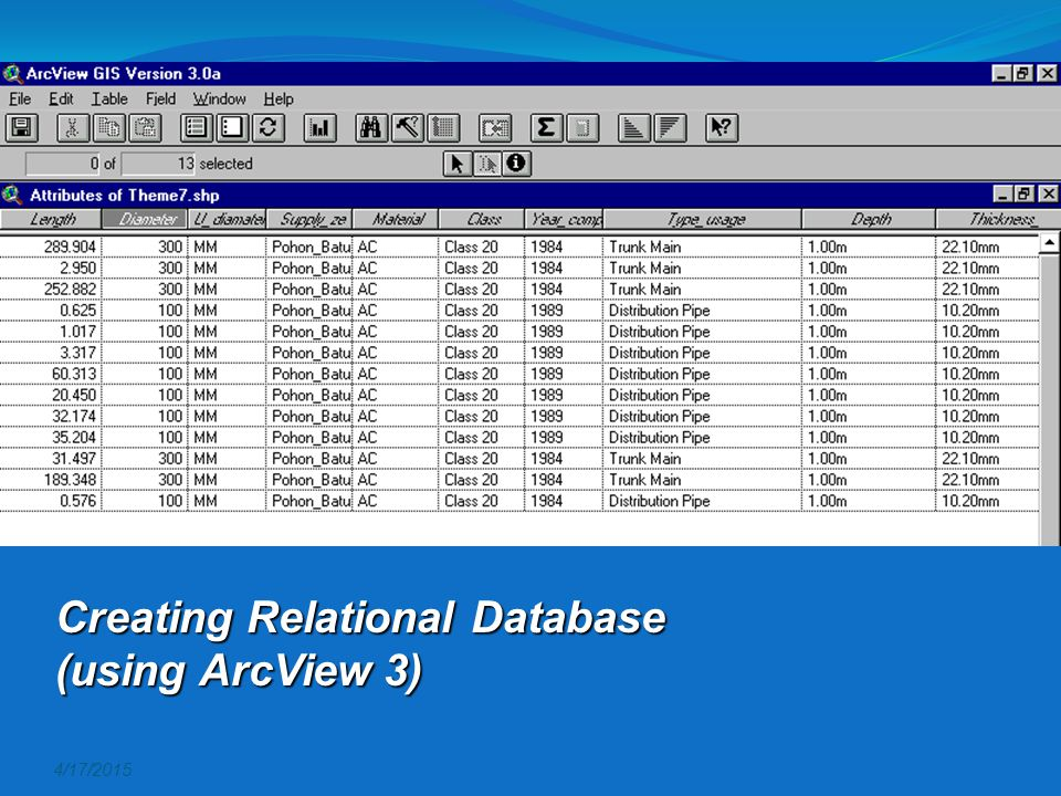 Creating Relational Database (using ArcView 3)