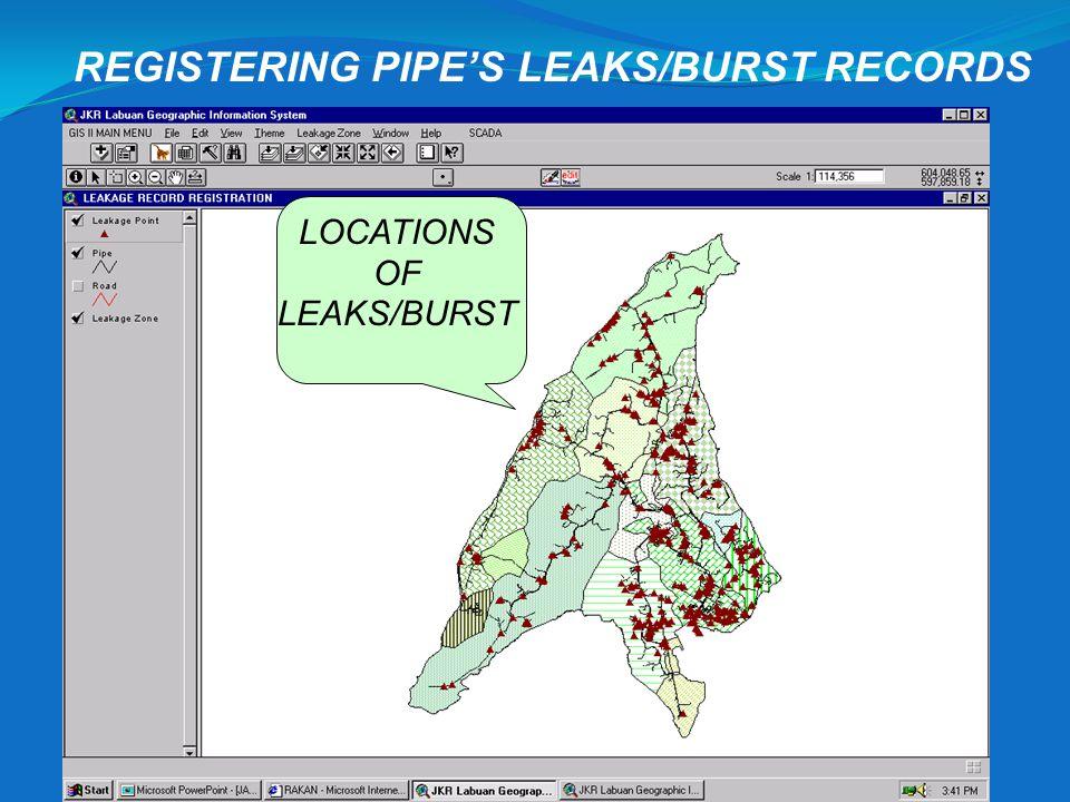 REGISTERING PIPE'S LEAKS/BURST RECORDS
