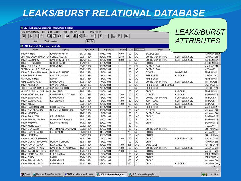 LEAKS/BURST RELATIONAL DATABASE
