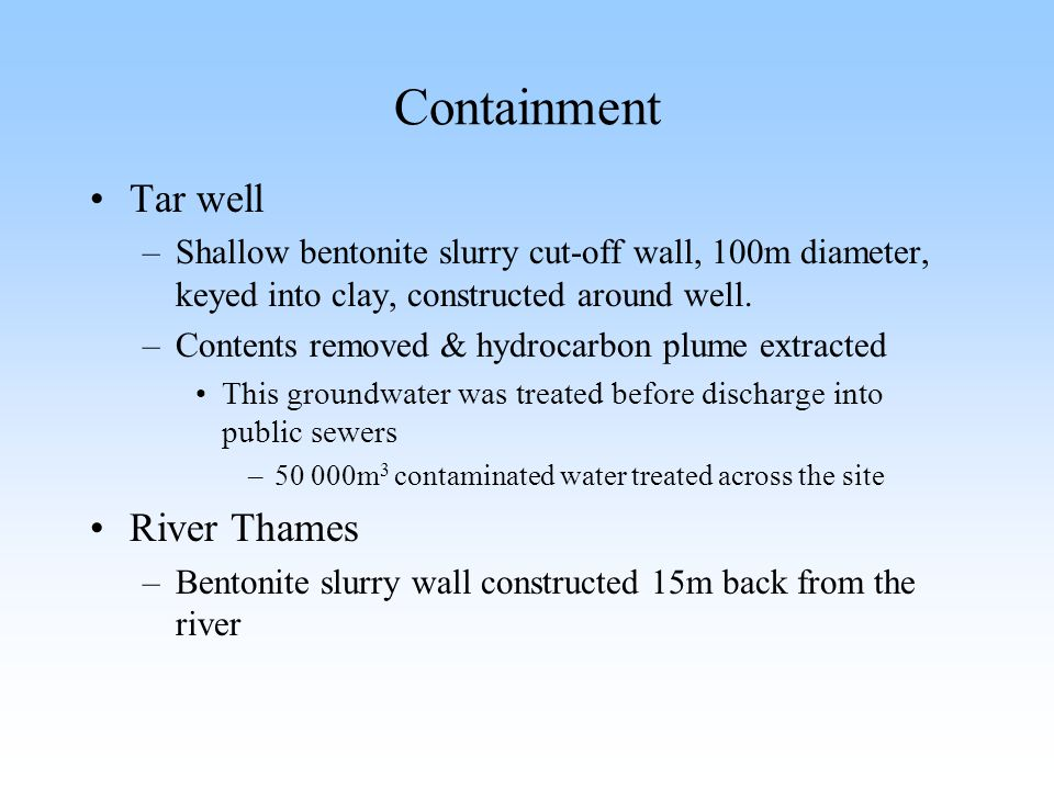 Containment Tar well River Thames
