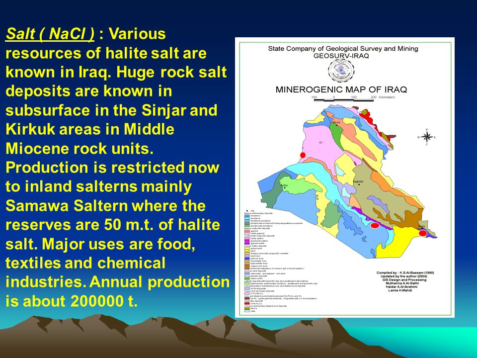 Salt ( NaCl ) : Various resources of halite salt are known in Iraq