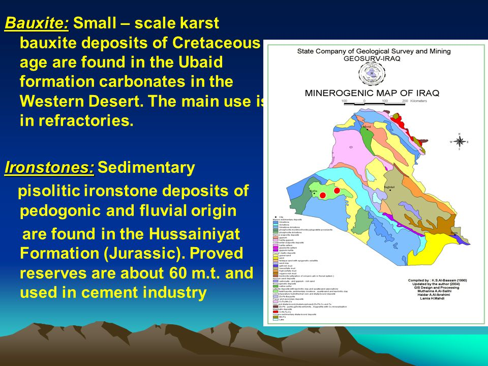 Bauxite: Small – scale karst bauxite deposits of Cretaceous age are found in the Ubaid formation carbonates in the Western Desert. The main use is in refractories.