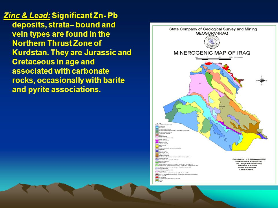 Zinc & Lead: Significant Zn- Pb deposits, strata– bound and vein types are found in the Northern Thrust Zone of Kurdstan.