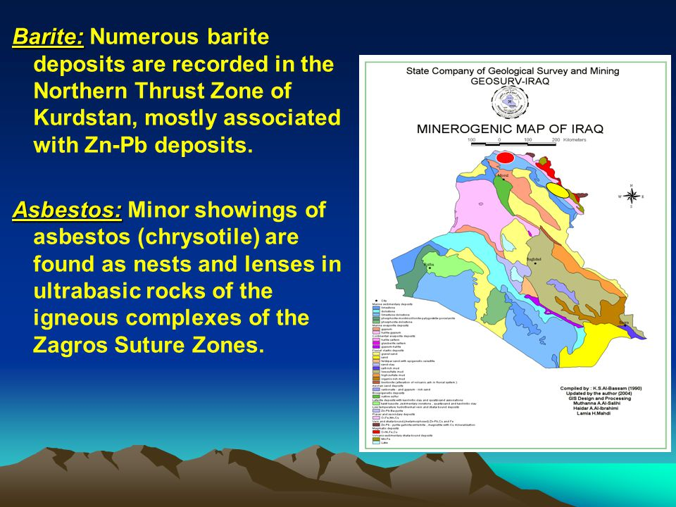 Barite: Numerous barite deposits are recorded in the Northern Thrust Zone of Kurdstan, mostly associated with Zn-Pb deposits.