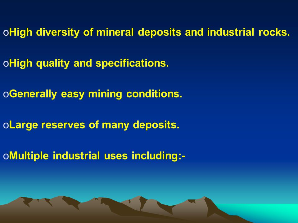 High diversity of mineral deposits and industrial rocks.