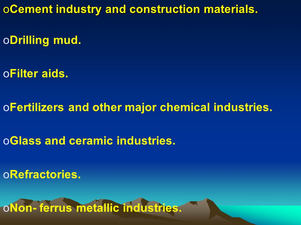 Cement industry and construction materials.