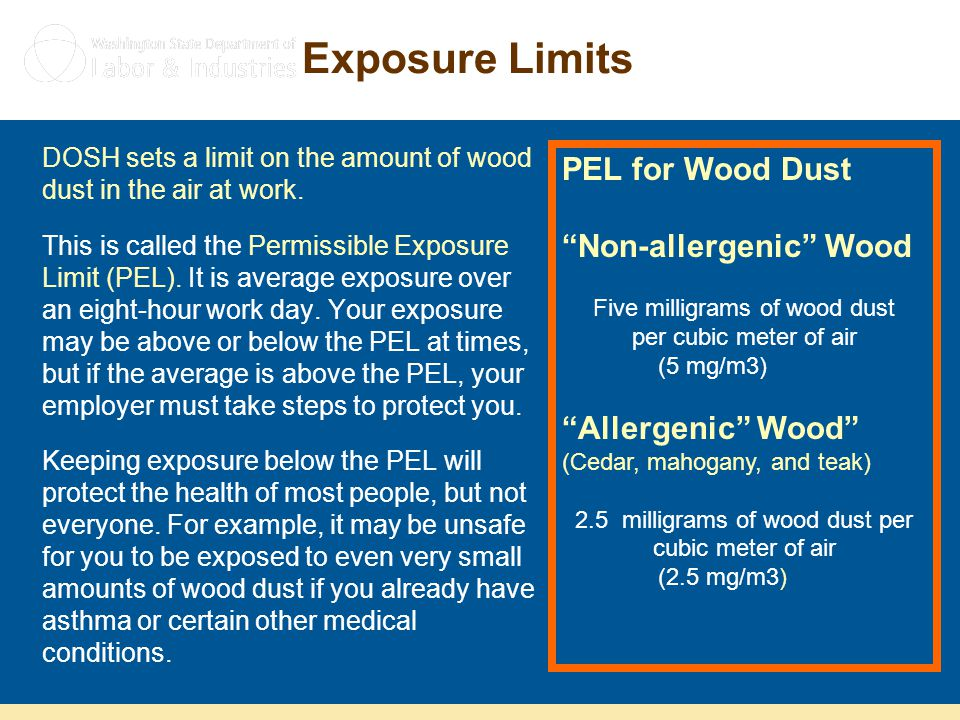 Exposure Limits PEL for Wood Dust Non-allergenic Wood