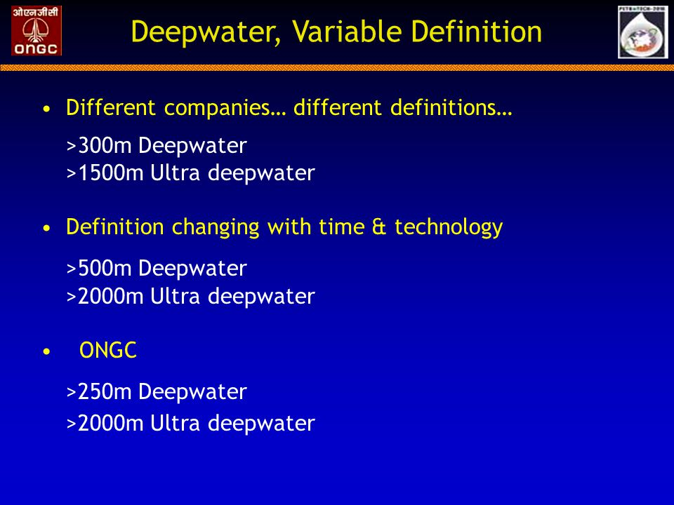 Deepwater, Variable Definition
