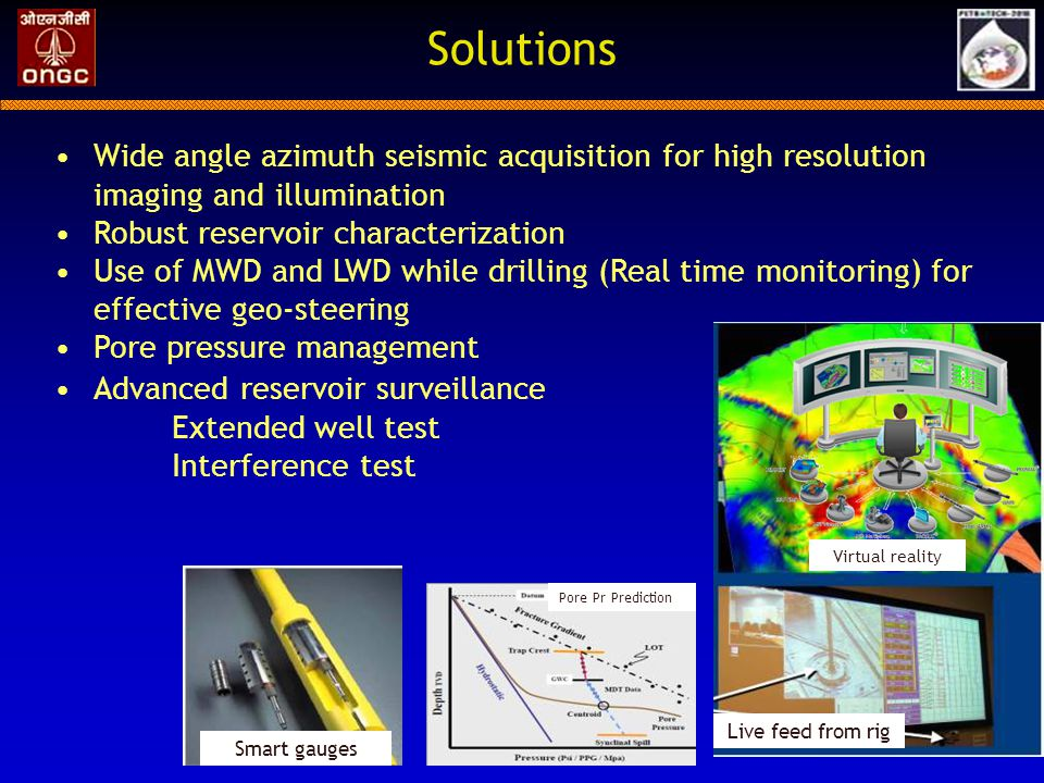 Solutions Wide angle azimuth seismic acquisition for high resolution imaging and illumination. Robust reservoir characterization.