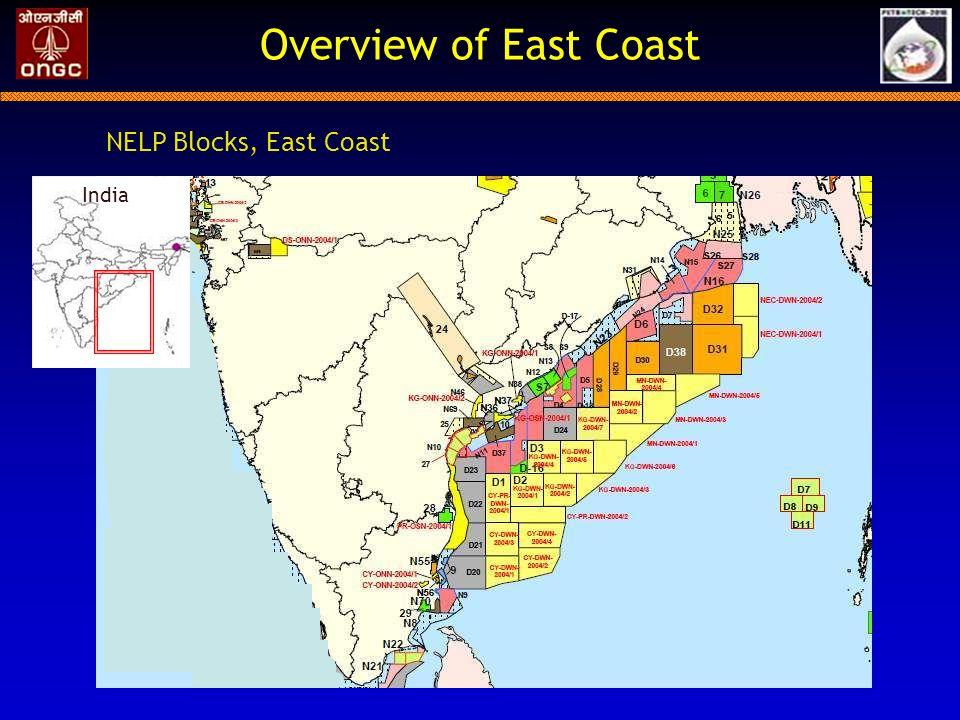 Overview of East Coast NELP Blocks, East Coast India India