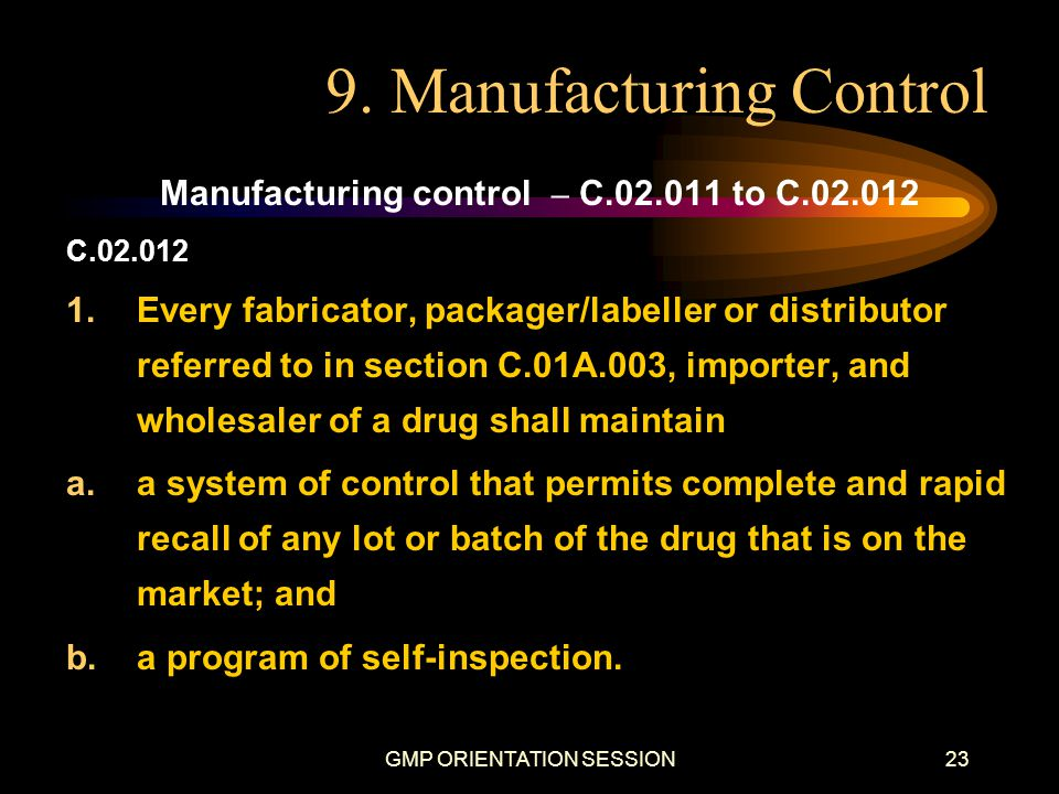 9. Manufacturing Control