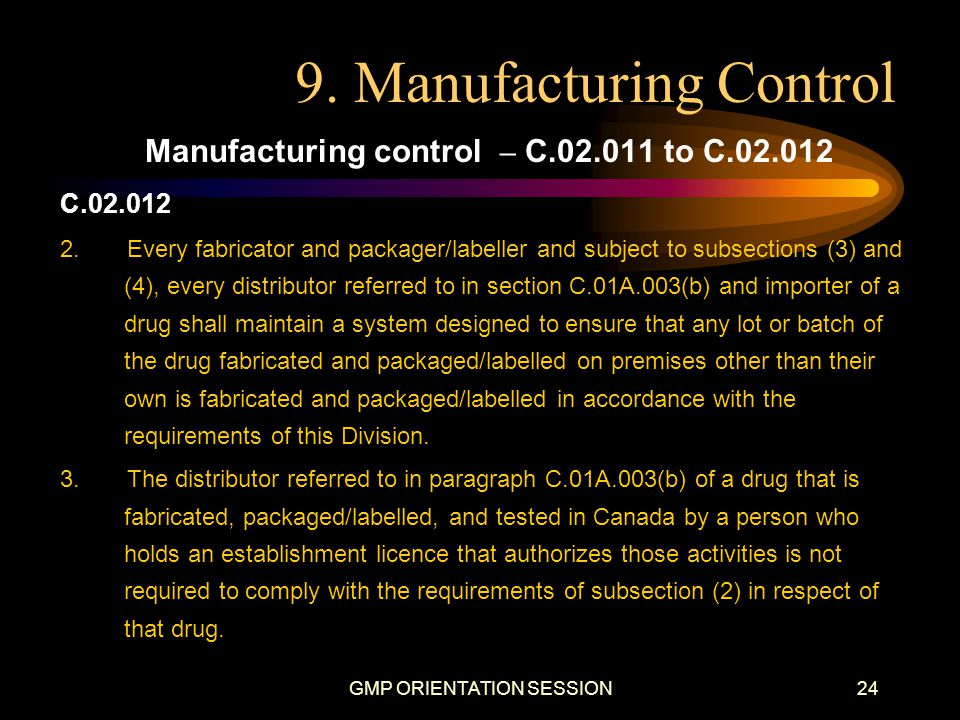 9. Manufacturing Control