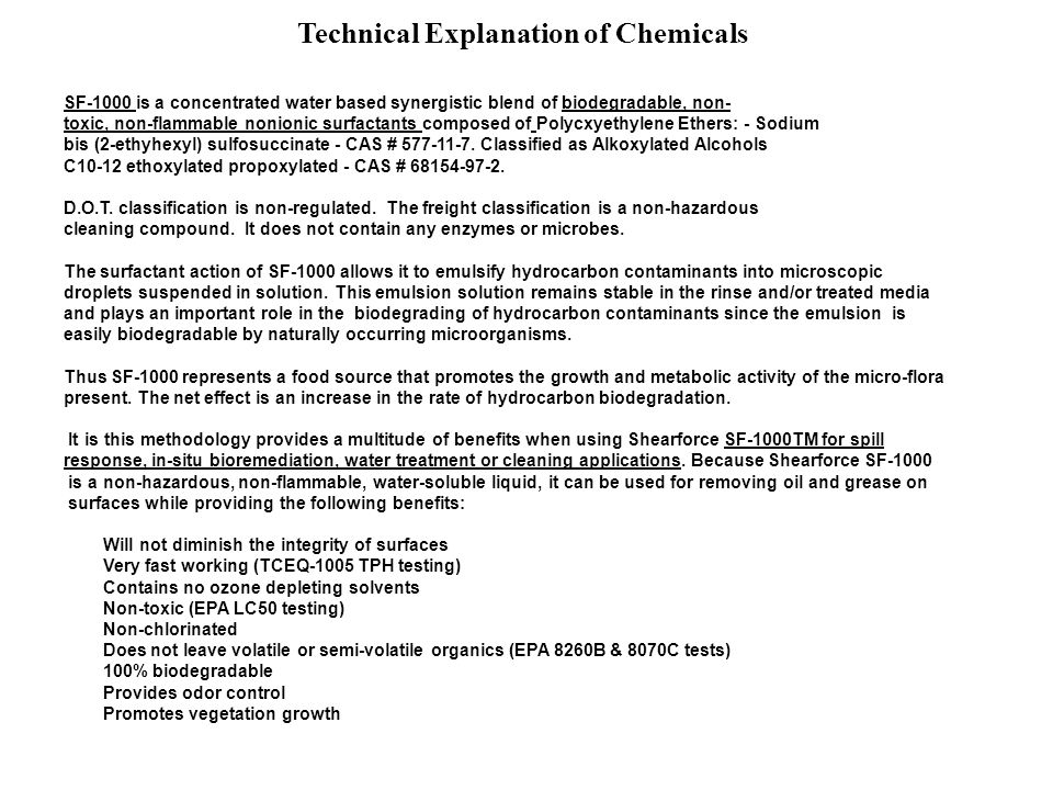Technical Explanation of Chemicals