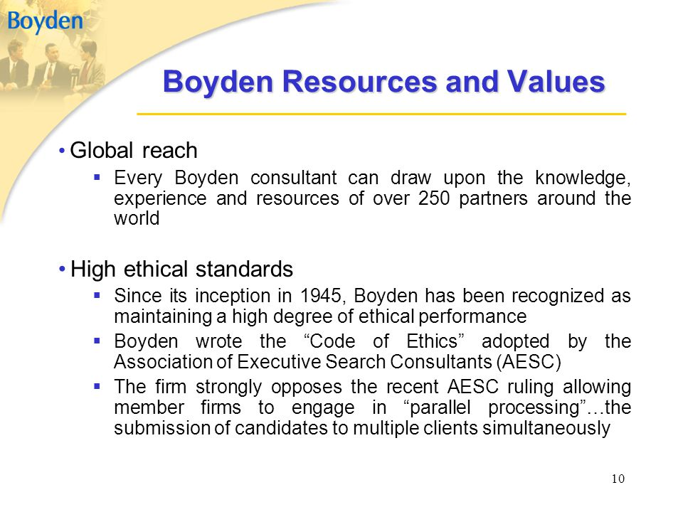 Boyden Resources and Values