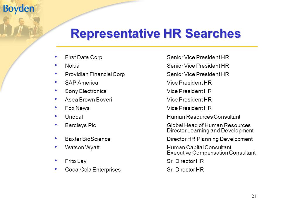 Representative HR Searches