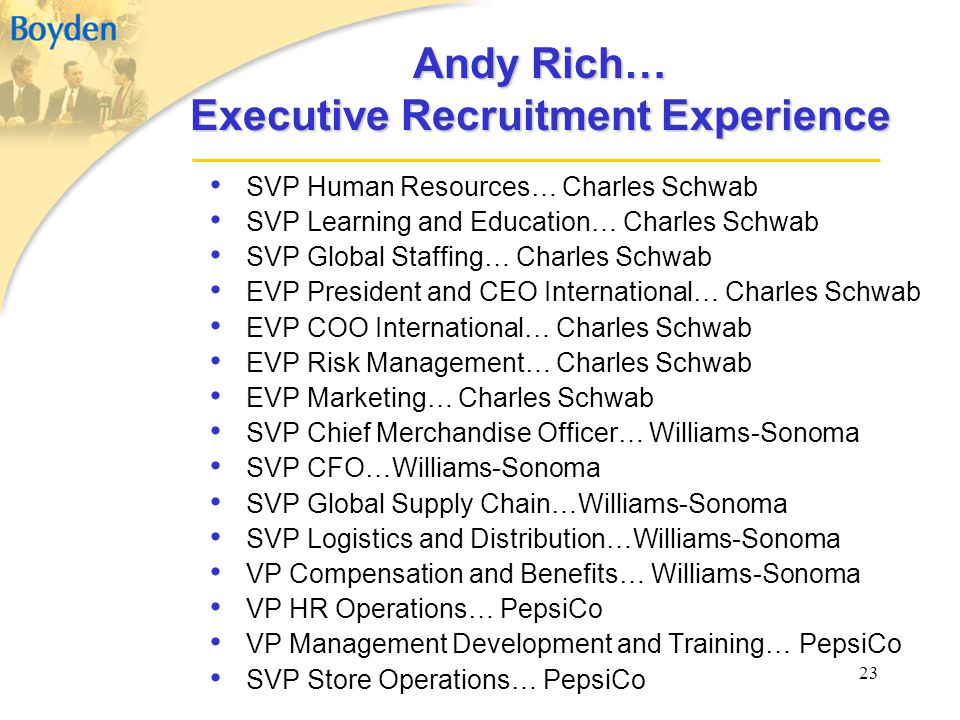 Andy Rich… Executive Recruitment Experience