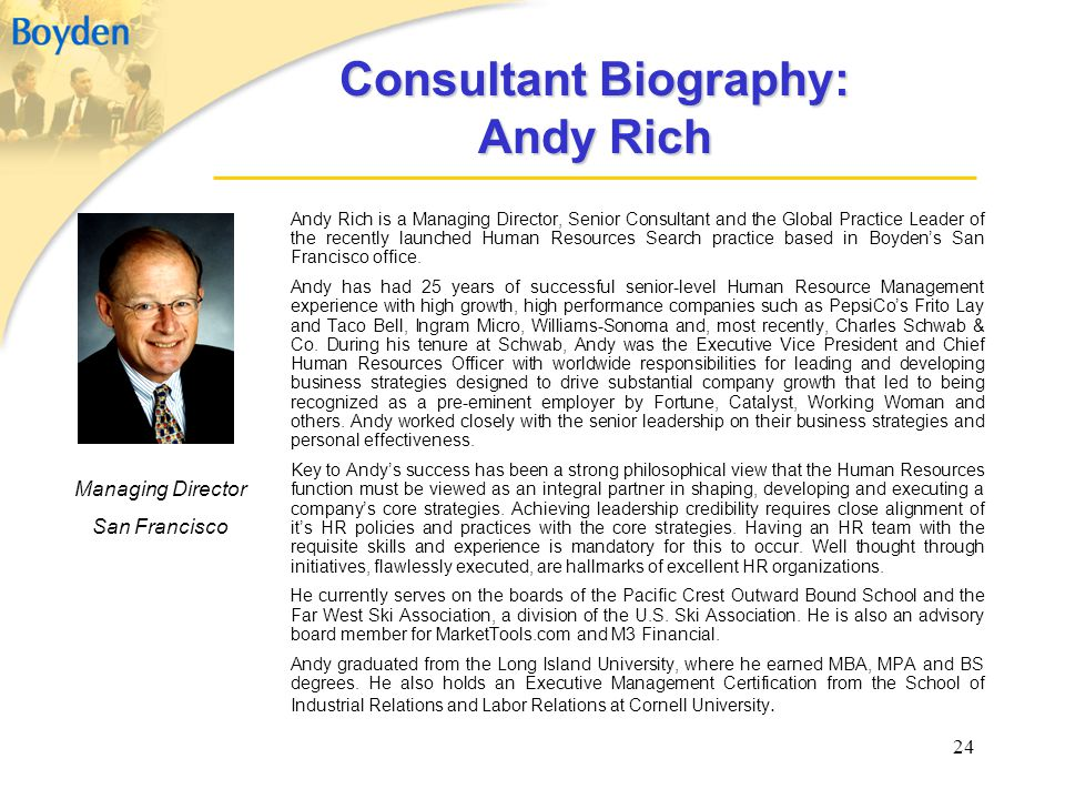 Consultant Biography: Andy Rich