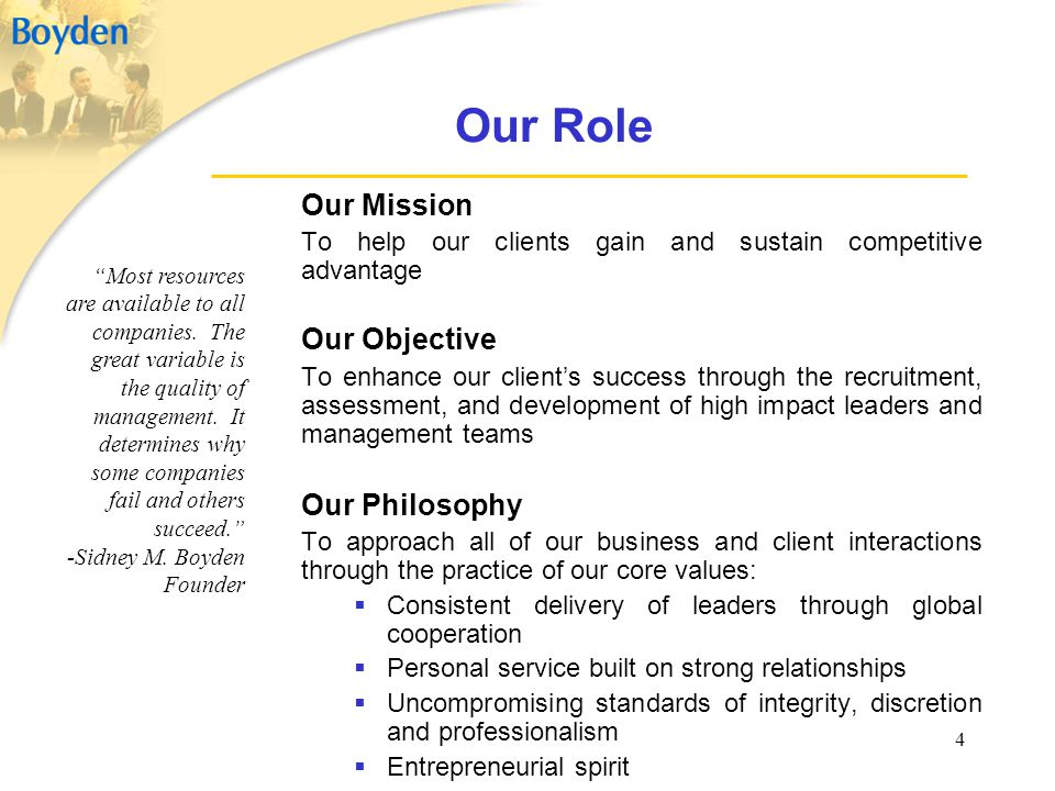 Our Role Our Mission Our Objective Our Philosophy