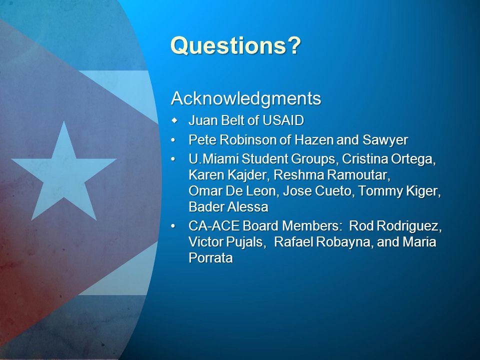 Questions Acknowledgments Juan Belt of USAID