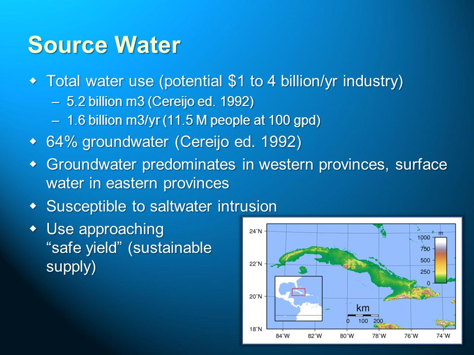 Source Water Total water use (potential $1 to 4 billion/yr industry)