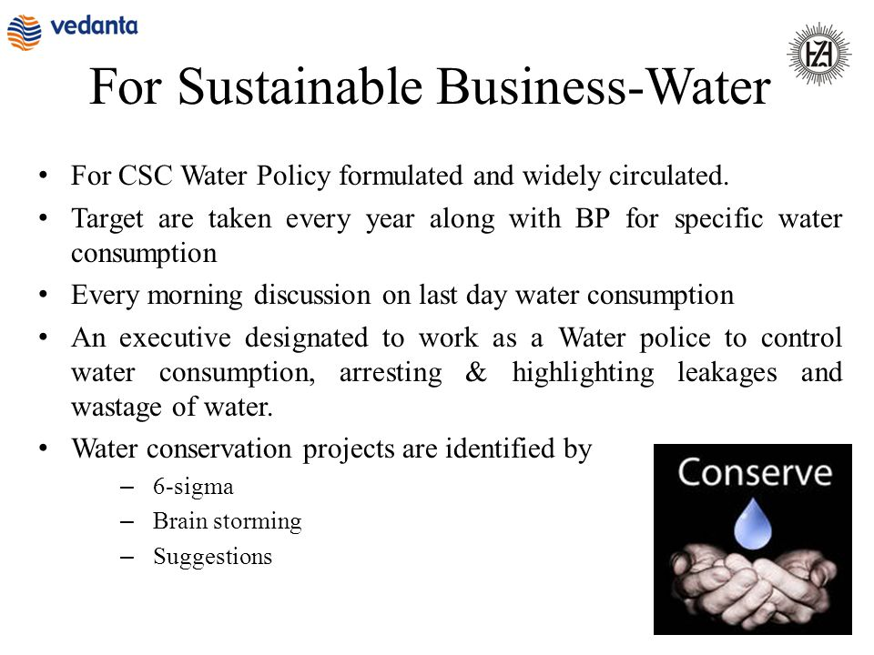 For Sustainable Business-Water