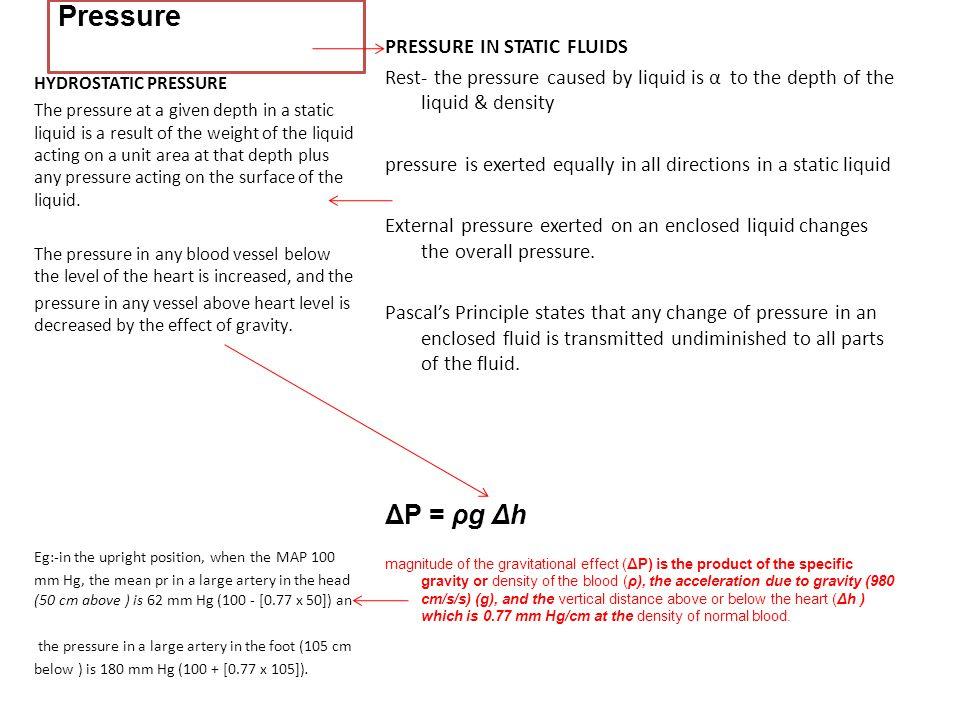 Pressure ΔP = ρg Δh PRESSURE IN STATIC FLUIDS